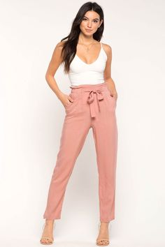 Women's Pants | Paper Bag Belted Trouser | A'GACI 97% polyester, 3% spandex