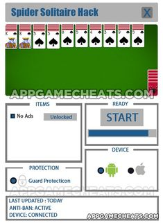 Spider Solitaire Hack & Cheats for No Ads Unlock  #Card #SpiderSolitaire #Strategy http://appgamecheats.com/spider-solitaire-hack-cheats-no-ads-unlock/