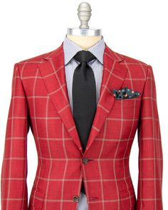 Canali Red with White and Black Windowpane Sportcoat 2 button jacket Notch lapel Brown melton Flap pockets Double vent Fully lined Red lining Front left chest pocket 43% wool, 32% silk, 25% linen Made in Italy