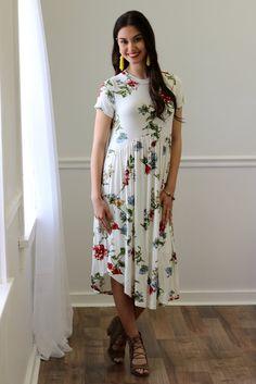 Lyla White Floral Midi Dress | Piper Street