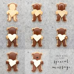 Be Mine Bear Cookies Recipe step by step for Valentine's Day. Heart hugging bear icing cookies with personalised message!