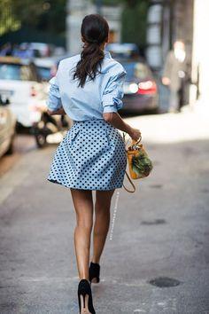 chambray shirt, printed mini skirt, black pump.