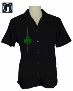 Ladies get into St.Patrick's Day spirit with this black retro shirt with celtic shamrock embroidery!