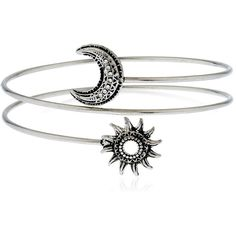 Silver Sun and Moon Arm Cuff featuring polyvore fashion jewelry bracelets accessories star jewelry silver jewellery silver bracelet bangle star bangled silver star jewelry