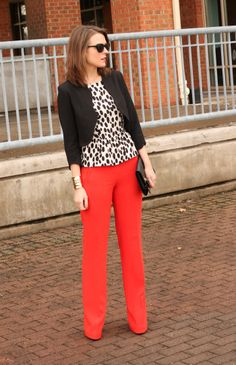 Colored skinny jeans are all the rage. Get the look in your office attire with a pair of bright trousers. Keep the rest of your look toned down to avoid competing with your bold pants.