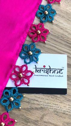 Saree Kuchu New Designs, Saree Tassels Designs, Hand Embroidery Dress, Embroidery Saree, Embroidery Stitches, Cutwork Blouse Designs, Kutch Work Designs, Hand Work Blouse Design, Diy Scarf
