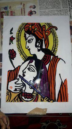 Kannan ratha....  Glass fabric painting
