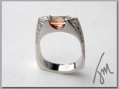 Custom Tall Wedge Ring with Pink Tourmaline and Diamonds