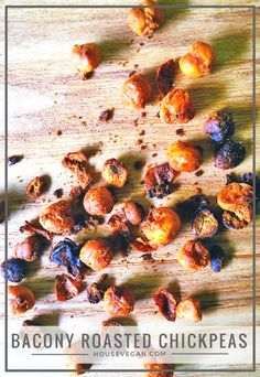 Vegan Bacony Roasted Chickpeas - Delicious vegan bacon style chickpeas that can be used to top soups, salads, potatoes, and more. Click here for the recipe