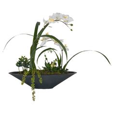 Faux white orchids and greenery garden in black planter.   Product: Faux floral arrangementConstruction Material: