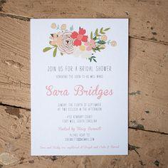 Rustic floral Bridal Shower Invitation - farm wedding, country wedding, rustic wedding, thank you cards, wedding shower, country wedding