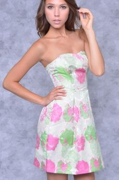 Strapless Floral Dome Pocket Dress - Clothes | Maria Morena Wholesale