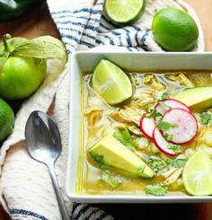 Traditional Mexican Chicken pozole verde made with comforting hominy, spicy peppers, delicious chicken and so much love.
