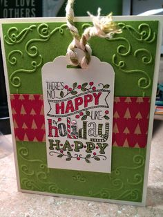 The Stamp Therapists: Holiday Extravaganza Card.   Uses Stampin' Up!'s Mingle all the Way set, Filigree Frame embossing folder, Natural & Olive Two Tone Trim, Scalloped Tag Topper Punch, and Under the Tree Specialty Designer Paper. www.stampwithjennifer.blogspot.com