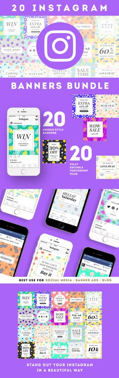 20 Instagram Banners / Social Media Banner Templates Bundle B
