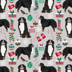 bernese mountain dogs christmas fabric cute dogs fabric xmas holiday dog design fabric by petfriendly on Spoonflower - custom fabric