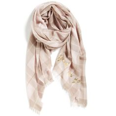 kate spade new york 'woodland plaid' wool scarf ($96) ❤ liked on Polyvore featuring accessories, scarves, pastry pink, woolen shawl, plaid scarves, tartan scarves, pink scarves and fringe scarves
