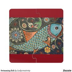 Swimming fish puzzle coaster