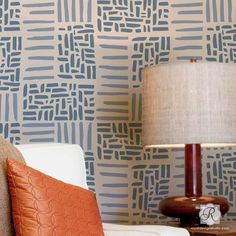 Paint a modern or tribal pattern on an accent wall in the bedroom or living room with our Weave Allover Wall Stencil from the new Christine Joy Design Stencil C