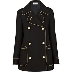 REDValentino Piped Pea Coat (28.970 RUB) ❤ liked on Polyvore featuring outerwear, coats, jackets, coats & jackets, tops, black, belted peacoat, pea jacket, double breasted coat and red valentino coat