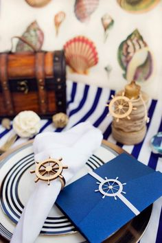 Check out our nautical collection - complete with the envelopment, belly band, a favor tag and a napkin ring. Each sold separately. Wedding Invitation Belly Band Ship Wheel Nautical by InaBow