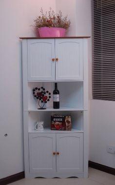 Wooden Corner Cabinet White