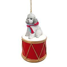 Poodle Gray Sport Cut Drum Ornament