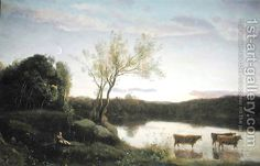 A Pond with three Cows and a Crescent Moon, c.1850 Jean-Baptiste-Camille Corot | Oil Painting Reproduction | 1st-Art-Gallery.com