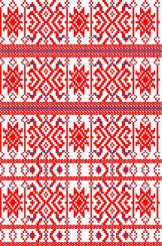 Croatia, Turopolje, opleče - primjer motiva dijela ženske turopoljske narodne nošnje iz sela Lučko. Opleče je veličine za djevojčicu između 7 i 10 godina. Primjer motiva izrađenog na tkalačkom stanu prebiranjem na šibe, motiv je prebran crvenim i plavim pamukom.