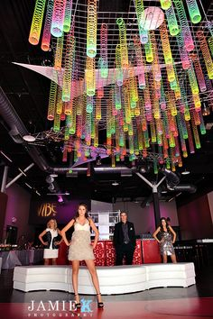 Slinky Ceiling ~ Fun Party Idea (although these people look quite unhappy about it)