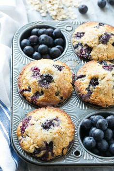 These healthy blueberry muffins are made with whole wheat flour and oatmeal for added nutrition, but they still taste as good as the original version! - My WordPress Website Whole Wheat Blueberry Muffins, Blueberry Oatmeal Muffins, Healthy Oatmeal Muffins, Coconut Flour Muffins, Blueberries Muffins, Blue Berry Muffins Healthy, Clean Eating Muffins, Healthy Muffins For Kids, Gluten Free Blueberry Muffins