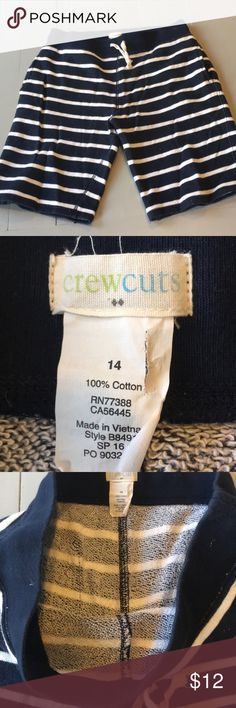 Crewcuts by J. Crew knit shorts Navy and white striped knit/terry cloth shorts. Casual and comfy. Crewcuts Bottoms Shorts