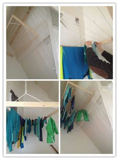 Was ophangen met katrol systeem, handig in kleine ruimtes! Tiny House Loft, Tiny House Trailer, Small Garage Organization, Home Organization, Kitchen Storage, Storage Spaces, Clothes Drying Racks, Small Laundry Rooms, Bedroom Layouts