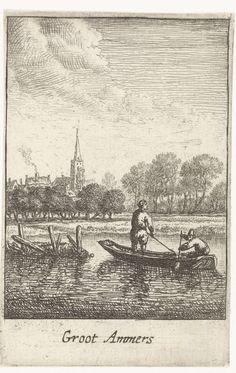 Jan van Almeloveen | Gezicht op Groot-Ammers, Jan van Almeloveen, Herman Saftleven, 1662 - 1683 | Gezicht op Groot-Ammers vanuit het water. Prent uit een serie van twaalf dorpsgezichten van Nederlandse plaatsen in de buurt van Utrecht met boten op de voorgrond.