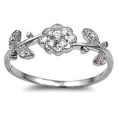 Sterling Silver ring size 7 CZ Rose Flower Daisy Plumeria Bloom Band New r14   #BladesBling #Band