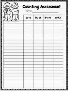 How high can your students count? Keep track on this FREE counting assessment form.