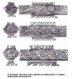 Seimeni - cele mai mari locuinţe circulare din Europa; evoluţia unei comunităţi de la neolitic (cultura Hamangia) la epoca fierului Book Of Kells, Pottery Designs, Archaeology, Ukraine, Traditional, Spirals, Ornaments, Mai, Drawings