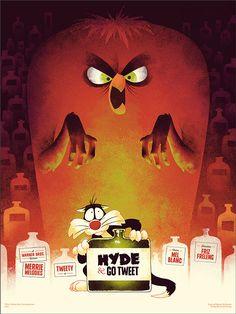 Hyde & Go Tweet poster for Mondo by Phantom City Creative