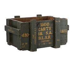 Caja militar antigua de madera de mango - verde