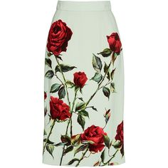 Dolce & Gabbana Rose Printed Pencil Skirt ($1,095) ❤ liked on Polyvore featuring skirts, dolce&gabbana, rose skirt, stretchy pencil skirt, dolce gabbana skirts and stretch skirt
