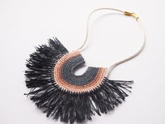 Image of Woven Rope Necklace with Raffia #2
