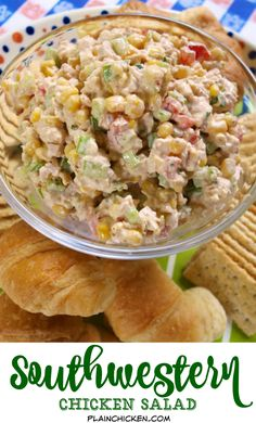 Southwestern Chicken Salad - chicken salad with lime juice, corn, green pepper, celery, tomatoes and cilantro - GREAT flavor! People always ask for the recipe!