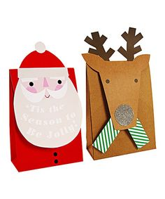 Santa & Reindeer Medium Gift Bag Set by Meri Meri Christmas Gift Bags, Homemade Christmas Gifts, Christmas Gift Wrapping, Christmas Frames, Christmas Christmas, Paper Gift Bags, Paper Gifts, Paper Paper, Christmas Decorations For Kids