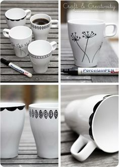 how to design your own mugs- wedding shower activity maybe  we'll have the oven to set these