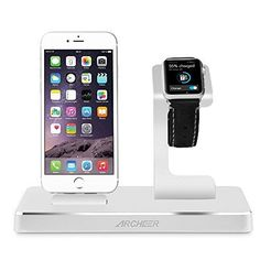 Archeer Apple Watch Dock iPhone Charging Station with 8 Pin Lightning Adapter, 3 IN 1 Apple Charging Stand with 2 x 2.4A USB Output to Charge iPhone 7/ 6s iPad other Tablets Cellphones (Silver) -- Learn more by visiting the image link.