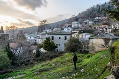 View of Vyzitsa (Βυζίτσα), a very-well preserved and protected by law traditional village. Built at there are many of the typical Pelion three-story traditional stone houses (αρχοντικά). Ancient Greek Theatre, Roman Roads, Ancient Ruins, Medieval Castle, Thessaloniki, Stone Houses, Greece, National Parks, Law