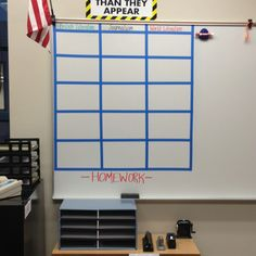 Homework station. List of daily homework. Turn in baskets. No name section. Absent binders. All in one place.