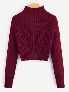 SweatyRocks Solid Stand Collar Crop Sweater Long Sleeve Female Elegant Pullovers Tops 2018 Autumn Women Casual Basic Sweaters - burgundy,s Grunge Look, 90s Grunge, Grunge Style, Grunge Outfits, Soft Grunge, Crop Top Outfits, Sweater Outfits, Sweater Fashion, Crop Top Sweater