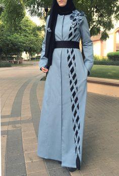 Denim Criss-Cross Abaya / Dubai Abaya / Hijab Fashion Abaya /