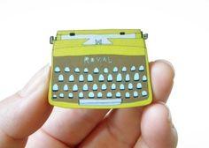 Typewriter Wood Broach